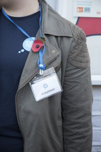 Volunteer wearing a lanyard