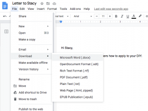 Image showing how to download a file as a pdf or Word file in Google Docs