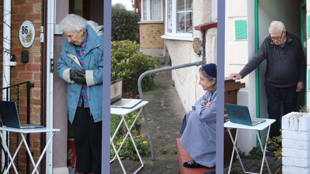 Three photos of older people, Ruth, Mollie and Albert, watching their Drawing On Wisdom films on a laptop, socially distanced from their doorstep.