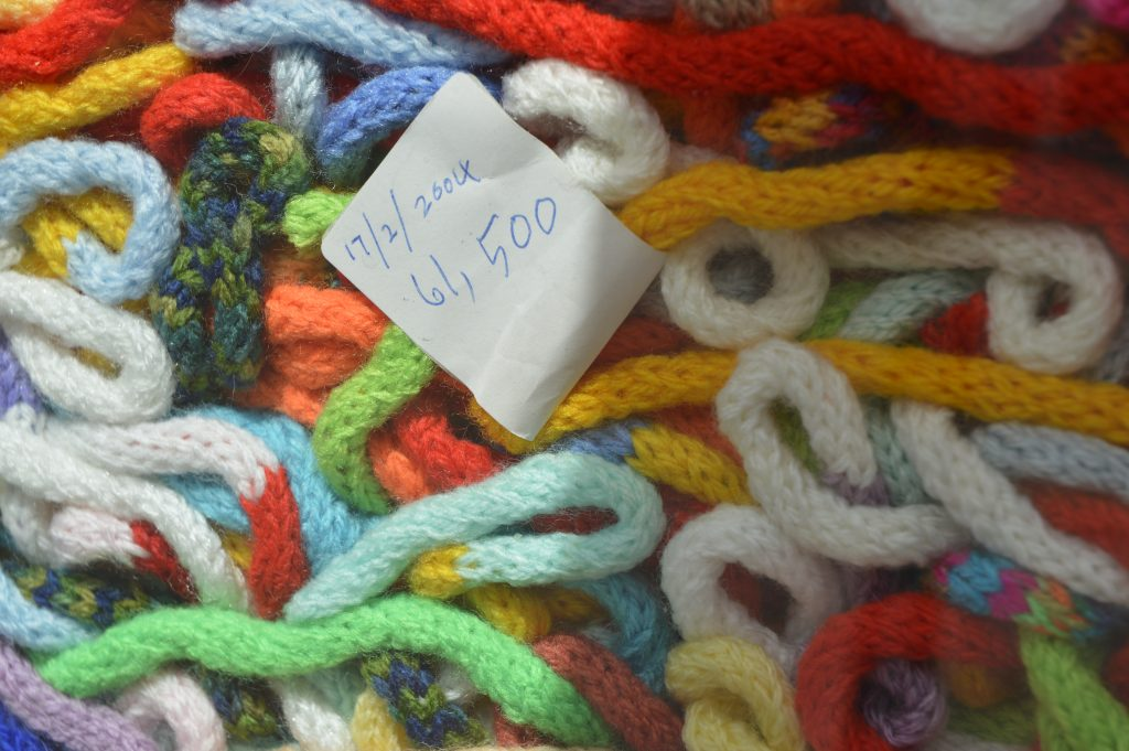 Date and measurement in feet of Ted's French knitting