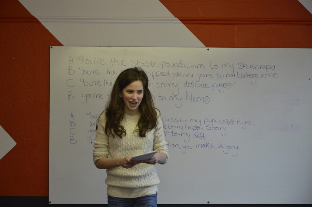 Performance of a poem by a young person