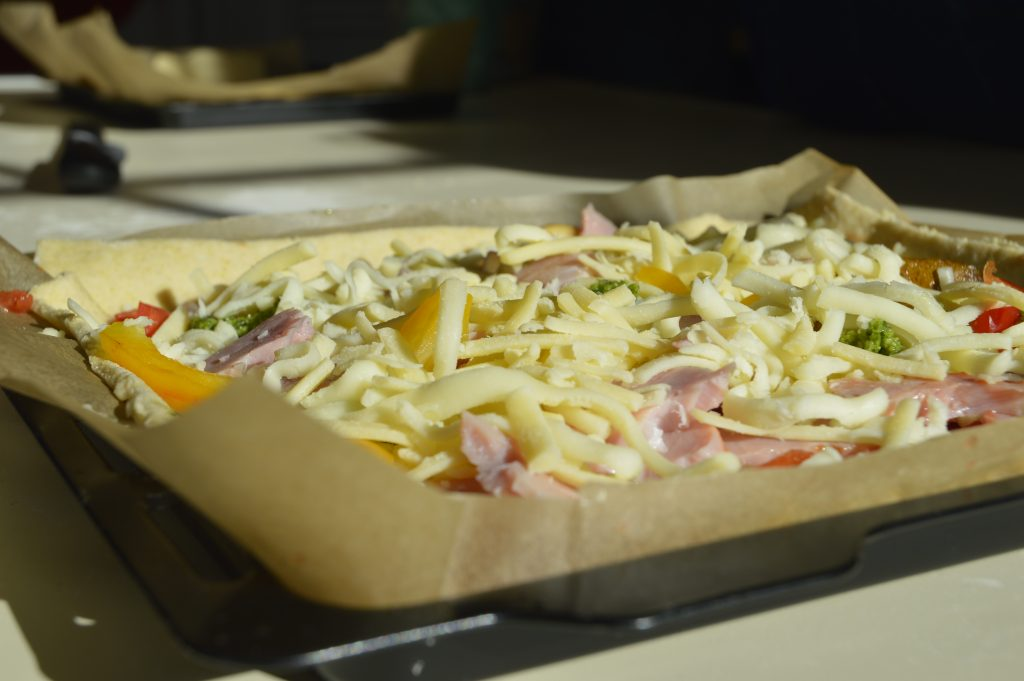 Making a homemade pizza