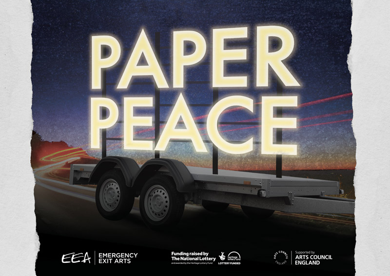 The words Paper Peace in front of a touring vehicle