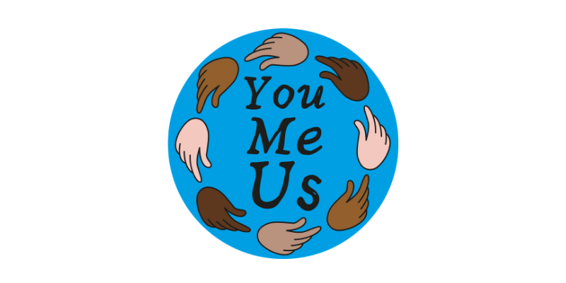 You Me Us logo. A blue circle with hands around it in a ring. The hands are different skin colours. Inside the circle are the words You Me Us.