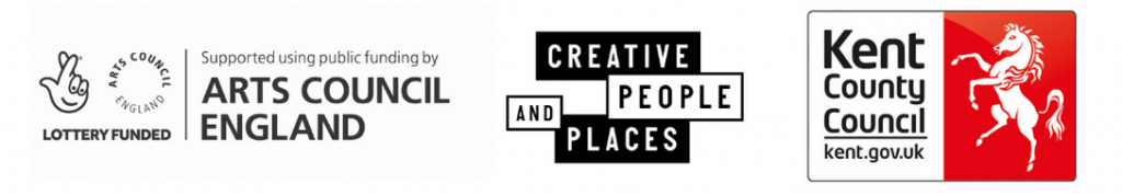 Logos for Arts Council England, Creative People and Places and Kent County Council