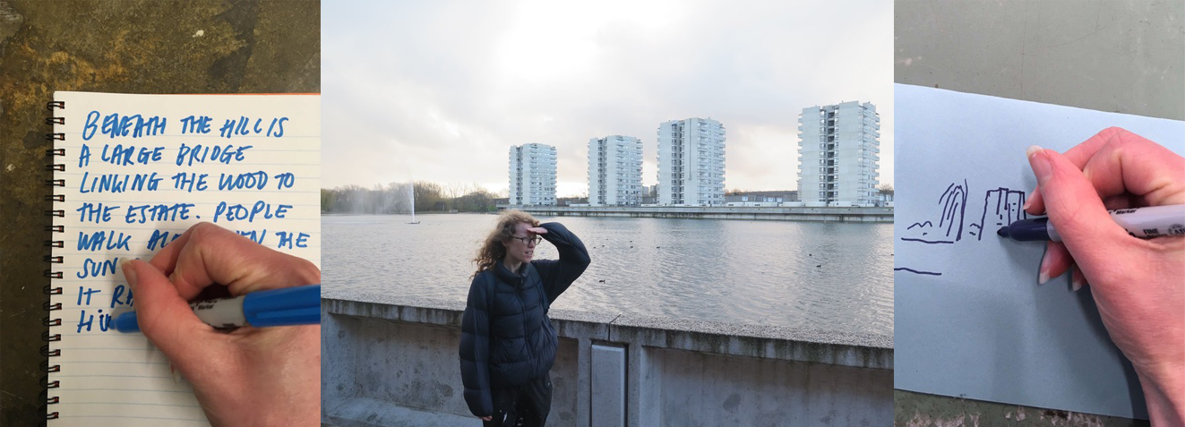 A set of three photos. The first shows artist Chloe Cooper writing a letter. The second is of Chloe looking out at The River Thames and high-rise tower blocks in Thamesmead. The third is Chloe drawing a picture of the tower blocks.