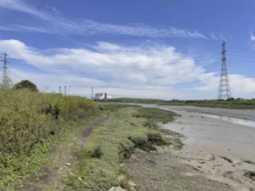 A photo of Milton Creek Country Park. On the left is a grassy bank. It transforms into the muddy bank of Milton Creek which can be seen to the right of the photo. In the distance is an electricity pylon and a building. The sky is blue with white clouds and airplane trails.